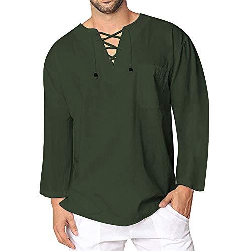Celucke Leinenhemd Herren Langarmshirt Yoga Shirt Mittelalter Langarm V Ausschnitt mit Schnürung, Leinen...