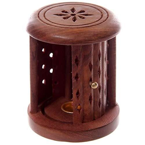 Puckator Räucherstäbchenhalter aus Sheesham-Holz, mit Schiebetür, gemischt, Höhe 9 cm, Durchmesser 7 cm