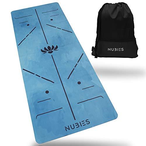 NUBIES Reise Yogamatte inkl. Turnbeutel - Rutschfest, Faltbar, Leicht - Ideal für Yoga, Fitness & Pilates - Zuhause oder Unterwegs (Blau)