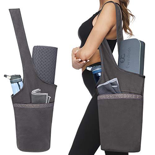 Ewedoos Yoga Taschen aus Baumwoll-Canvas für meisten yogamatte & Yoga-Zubehör (Grau)