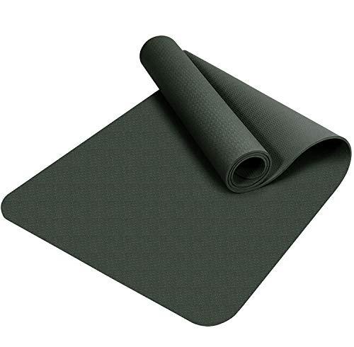 Good Times Yogamatte, rutschfest, TPE, umweltfreundlich, hypoallergen, hautfreundlich, Gymnastikmatte, Fitnessmatte, Sportmatte, Bodenmatte mit Tasche & Trageband, 183x61x0,8cm (Dunkelgrün)
