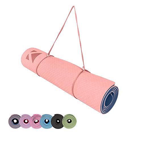 Liking Yogamatte rutschfest aus TPE,Hypoallergen Gymnastikmatte mit Tragegurt,Fitnessmatte für Yoga, Pilates, Fitness Übungen und Sportmatte,Trainingsmatte-183 x 61 x 0,6 cm 7001,Rosa + Marine