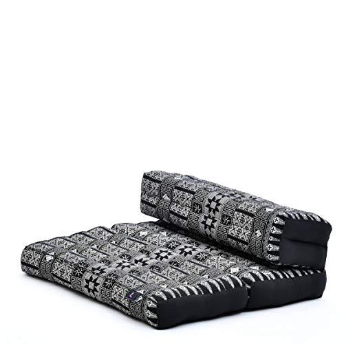 Leewadee Faltbarer Meditationssitz Yoga Sitzkissen platzsparendes universelles Meditationsset ökologisches Naturprodukt, Kapok, schwarz