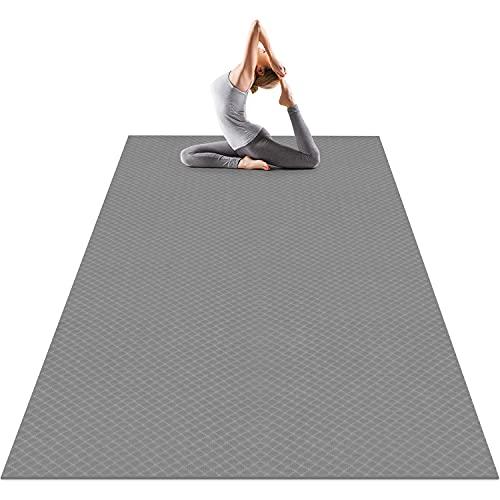 Odoland Gymnastikmatte Yogamatte Große Fitnessmatte rutschfest für Fitness Yoga Pilates Gymnastik Maße 183 x 121 x 0,6 cm Grau