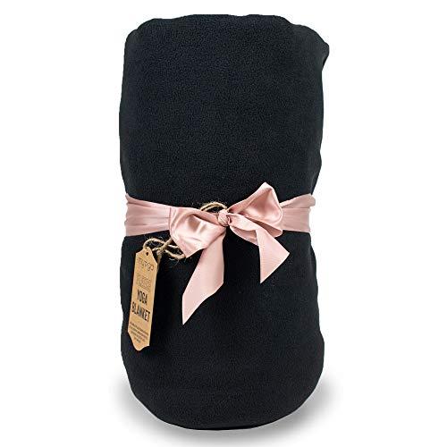 Myga RY1326 Fleece Yoga Decke - Yoga Studio Requisitenkissen für Meditation und Yoga Praxis - Entspannende weiche Kuscheldecke schwarz