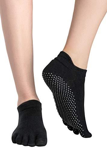Yoga Socken / Pilates Socks / Stoppersocken / Kampfsport / Gymnastik / Ballett / Tanz Socken / Fußbodensocken, Rutschfeste Socken für Sport, für Damen und Herren ABS-Socken, Schwarz (Black), Gr. 39/42