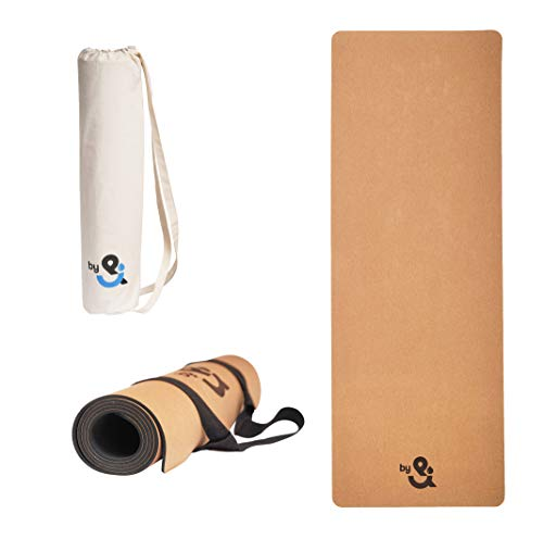 DROPby& Yogamatte Kork Naturkautschuk mit 2-in-1 Tragegurt und hochwertige Baumwolltasche | Extra breit 66cm x 183cm Länge x 4mm Dicke | Sportmatte rutschfest für Yoga, Fitness, Pilates & Gymnastik