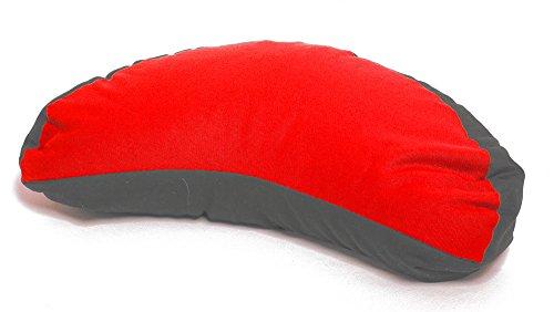 Meditationskissen rot-grau Halbmond Bio-Dinkelspelz Yogakissen Mond