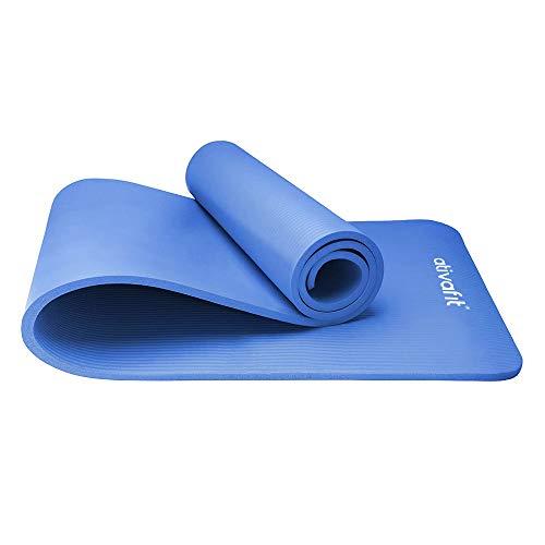 ATIVAFIT Phthalatfreie Yogamatte - rutschfest und gelenkschonend Sportmatte für Yoga Pilates Sport Fitnessmatte Gymnastikmatte mit Tragegurt Pilatesmatte 183 * 61 * 1 cm Trainingsmatte (Blau - 2)