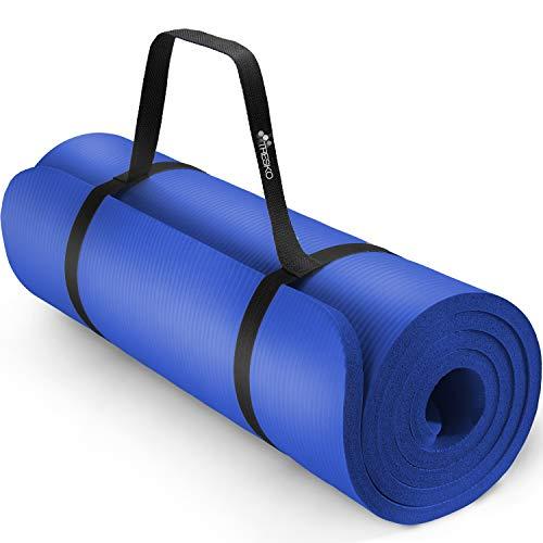 TRESKO Yogamatte Phthalatfrei - Gymnastikmatte rutschfest, Pilatesmatte Fitnessmatte mit Tragegurt, 190 x 100 x 1,5 cm