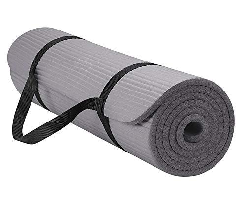 Yogamatte, extra dick, wendbar, leicht, mit Tragegurt, Komfort-Schaumstoff-Übungsmatte, rutschfeste Trainingsmatte für Yoga, Pilates, Boden und Fitness-Übungen (grau-A)