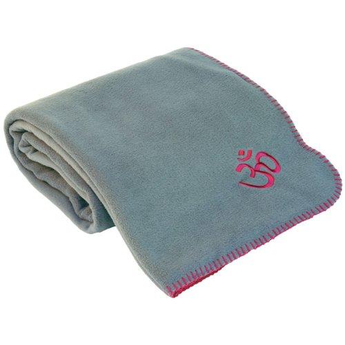 Yogadecke ASANA BLANKET, Kuscheldecke für Shavasana, Fleecedecke mit OM-Stickerei,140 x 200cm (grau)