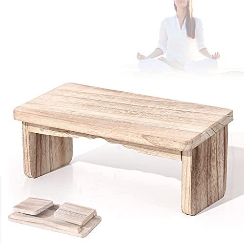 HIMABeauty Hölzern Yoga Meditationsbank, Klappbar Kniesitz Meditationshocker, Robuste Holzbank Für Anfänger, Als Gebetsbank