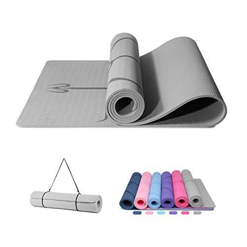 Good Nite Yoga Matte, rutschfeste dicke 6mm für Frauen mit Ausrichtungslinie, extragroße, umweltfreundliche Matten mit hoher Dichte, Pilates-Boden für Trainingssport zu Hause183 x 61cm (Grau) …