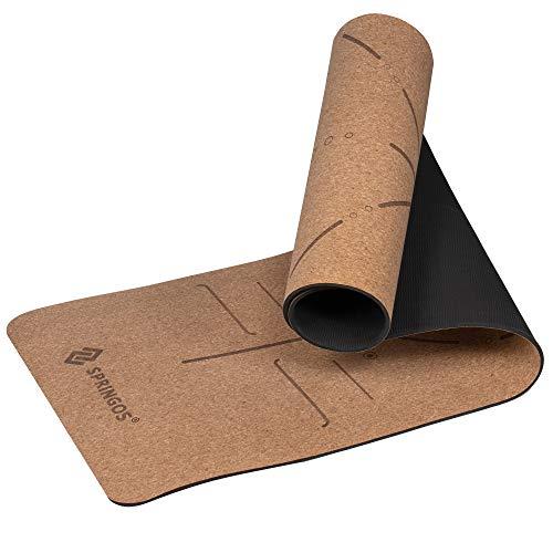 SPRINGOS Kork Yogamatte, mit Mandala-Druck, LxB: 185x61 cm, Mattenstärke 6 mm, hypoallergen, ökologisch, Anti-Rutsch-Übungsmatte, zweiseitig, Trainingsmatte, Fitness, Sportmatte