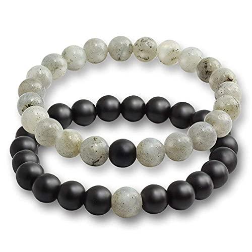 Chtom Perlenarmband 2 Teile/Satz Armband Armbänder für Frauen Lava Naturstein weiß und schwarz Yin Yang Männer Perlen Armband Paare Entfernung Yoga Bangles (Metall Farbe: Schwarze Linie und Matte)