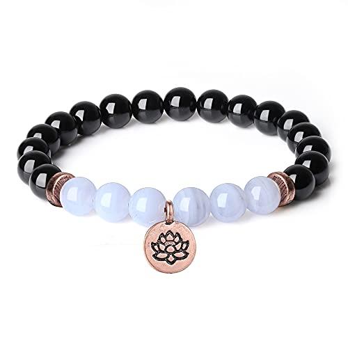 coai Geschenkideen Yoga Armband aus Schwarzem Turmalin und Chalcedon mit Lotosblume Zubehör Rosarot für Damen