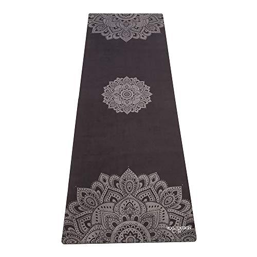 Yoga Design Lab Combo Yogamatte | rutschfest, Matte/Handtuch, Guter Halt bei viel Schweiß, Naturkautschuk | mit Tragegurt (Mandala Black, 5.5mm)