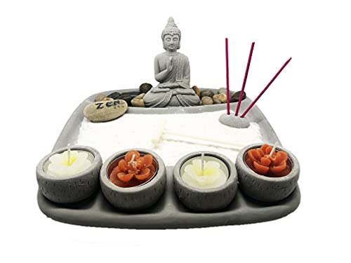 Ducomi Zen Gartentisch mit Tablett, Sand, Buddha-Figur, Stein - Japanisches Meditationsset - Wohnaccessoires Innenmöbeldekoration Geschenkidee (Chakra)