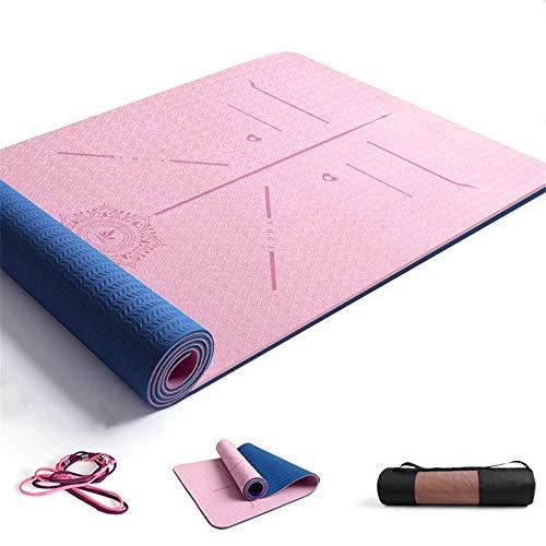 ZBK Yoga-Matte, 8 mm dick, zweifarbig, TPE, Körperführungsmatte, Yoga-Matte, erweiterte und dicke Fitnessmatte, Tanzmatte, 183 x 68 x 0,8 cm (Rosa), 5 Farben