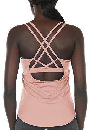 icyzone Damen Sport Yoga Tank Top mit Integriertem BH - 2 in 1 Sport Oberteile Fitness Gym Shirts (S, Blasses Erröten)