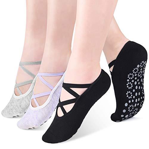 VBIGER Yoga Socken Damen Antirutschsocken Stoppersocken Atmungsaktive 3 Paar Abs Socken für...