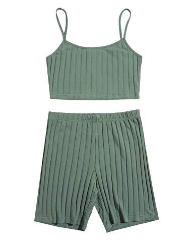 Floerns Women's 2 Piece Rib Knit Crop Cami Top with Biker Shorts Sport Yoga Sets Green L