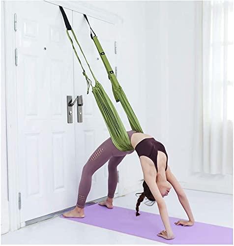 QYK -Yoga-Hängematte, Trapez-Schaukel-Set, Anti-Schwerkraft-Flying Swing Aerial Silks, Aerial Yoga-Hängematte, Stahlkarabiner-Verlängerungsgurte,4 Green