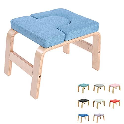 Viktion Yoga-Hocker Yoga Kopfstandhocker Yoga Handstand Bench Stand Yoga Kopfstandstuhl für Zuhause und Fitnessstudio, Holz und Baumwolle (Blau)