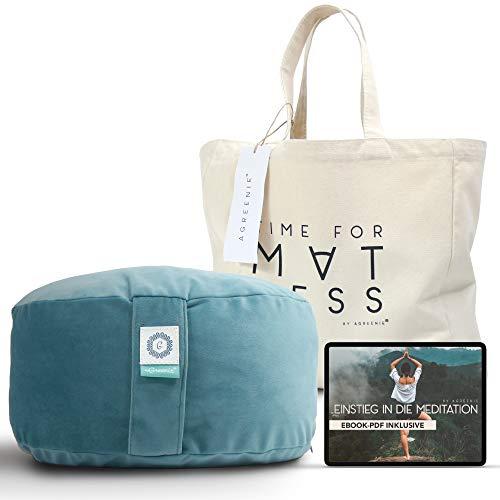 aGreenie Yogakissen aus Samt - rundes Meditationskissen gefüllt mit Buchweizen - Sitzhöhe 15cm - waschbarer Bezug - inkl. Shopper-Tasche & Meditations – Ebook (deep Ocean Green)