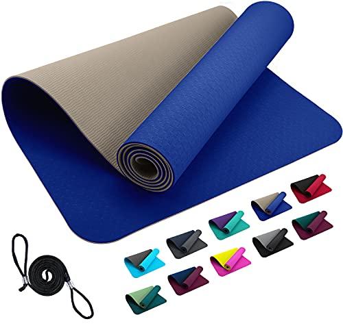 TPE REFIT Yogamatte Trainingsmatte 183 x 61 x 0,6 cm - Blau Beige rutschfeste Matte für Home Workout & Outdoor Training Gymnastikmatte Turnmatte Sportmatte Fitnessmatte Gym schadstofffrei Blue Skin