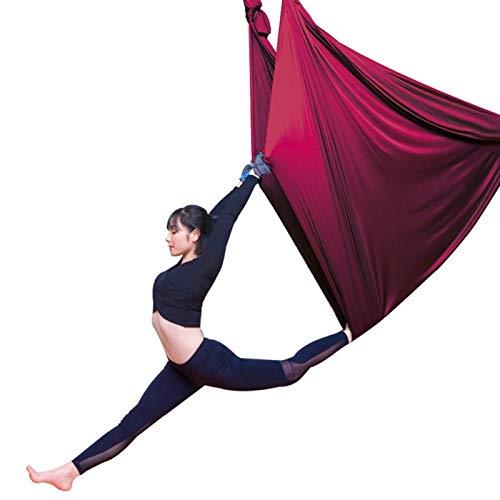 QHY Hängehöhle Yoga DIY Silk Pilates Premium Aerial Silks Equipment Aerial Yoga Tuch Aerial Silk Elastische Yoga Hängematte Mit Stoff Zubehör 5 Meter (Color : Wine red, Size : 500x280cm/197x110in)