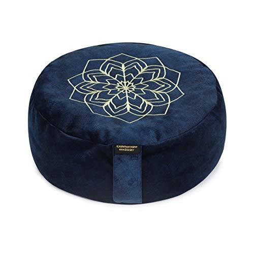 DiMonde Zafu Meditationskissen Yogakissen Rund - Buchweizenschälen - Waschbarer Bezug mit Griff - Baumwolletasche - Mandala - Sitzhöhe 13 cm Durchmesser 33 cm (blau)