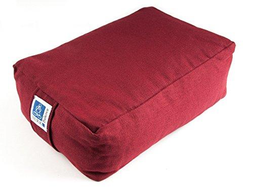 TEMPELWELT Yoga Kissen Meditationskissen Quader 30 x 20 x 10 cm, Bezug aus Baumwolle Bordeaux rot abnehmbar, gefüllt mit Buchweizenspelz, Sitzkissen Bolster Yogakissen