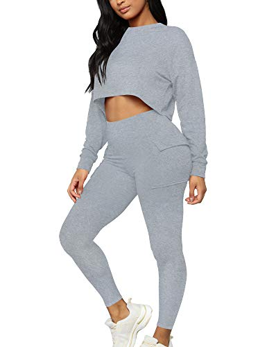 Kaximil Damen Casual Jumpsuit Bodycon 2 Stück Club Outfits Crop Tops Shorts Set mit Taschen - Grau - Mittel