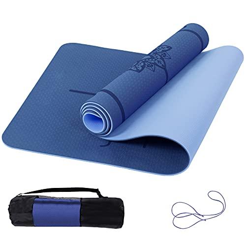 Marjar Yogamatte Rutschfest Gymnastikmatte TPE Fitnessmatte für Yoga Übungsmatte mit Tragegurt Sportmatte 183 cm x 61 cm x 0.6 cm