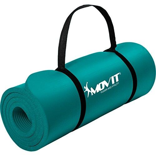 Movit Pilates Gymnastikmatte, Yogamatte, phthalatfrei, 183 x 60 x 1,0cm, Yoga Matte in Petrol