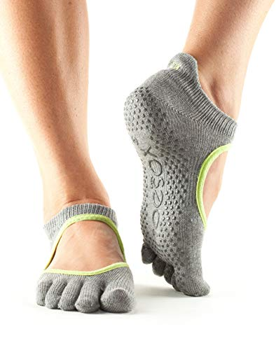 Toesox Unisex-Erwachsene Full Toe Bellarina Yoga-Socken, Grau (heather) / Grün (lime), S