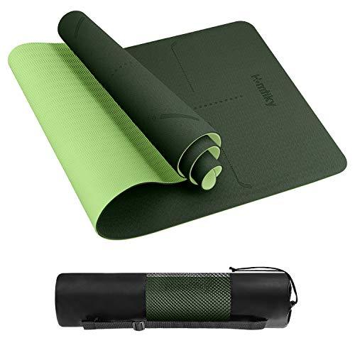 Homtiky Yogamatte Gymnastikmatte, rutschfeste Sportmatte/Übungsmatte aus TPE Material Workout & Gymnastik und Tasche Ideal für Fitness, Yoga, Pilates usw(183 * 62 * 0.6cm)