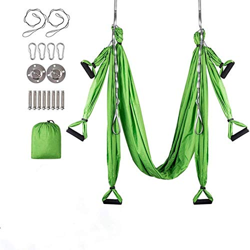 FINGER TEN Yoga Trapeze Yoga Hängematte Set Luftseide Safe Deluxe Aerial Kit Yoga Anti-Schwerkraft Swing...