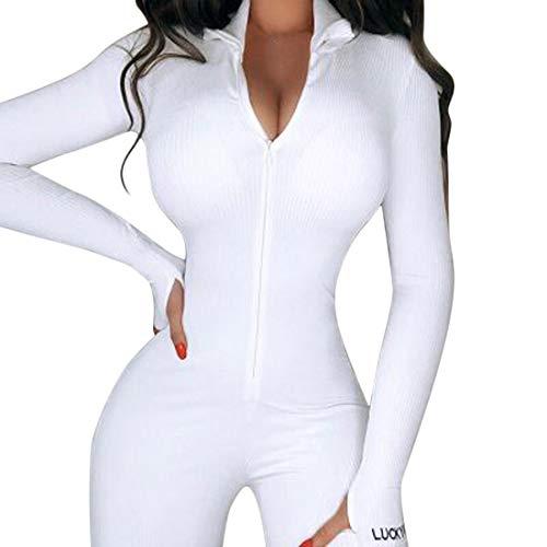 Vertvie Damen Sportanzug Yoga Fitness Slim Jogginganzug Langarm/Kurzarm Bodycon Strampler Jumpsuit mit Reißverschluss Body Outfits Playsuit (K-Weiß,S)