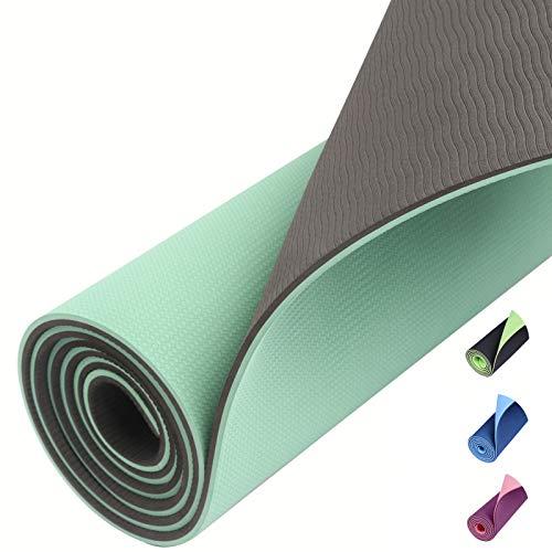 Amazon Brand – Eono TPE Yogamatte rutschfest Gymnastikmatte Pilates Matte Sportmatte Fitnessmatte Schadstofffrei Mint/Grau
