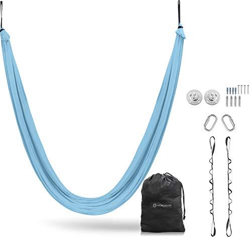 UpCircleSeven Aerial Yoga Hängematte – Silk Swing Kit + Erweiterungsriemen & eBook Sensorische Schaukel Antigravity Decke hängen Sling Inversions-Hängematte für Anfänger Fortgeschrittene