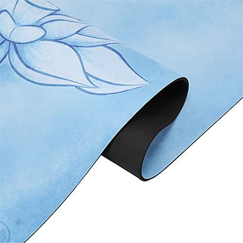 CHSDN Yogamatte aus Naturkautschuk, bedruckt, Veloursleder, leicht, rutschfest, tragbar, faltbar, doppelte Verwendung, 1830 x 680 x 1,5 mm, Blau mit Meeresblau