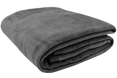 ZOLLNER Wolldecke grau 150 x 200 cm, Baumwollmix, viele Farben, Größen