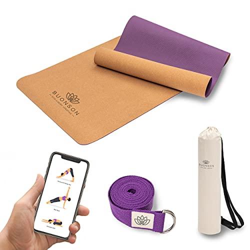 Buonson Yogamatte Kork 100% Ökologisches & Rutschfest mit Naturkautschuk Nachhaltig - Set Yoga Matte: Yoga Gurt + Tasche + E-Book [183 x 61 x 0,5 cm]