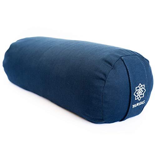 Yamkas Yogarolle fur Yin Yoga - Yoga Rolle mit Buchweizen Füllung – Yogakissen mit Waschbarer Bezug aus Baumwolle - Yoga Bolster fur Restorative Yoga - 60 x 22 cm - Navy