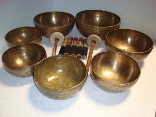 Chakra-Heilung, tibetisch, gehämmert, tibetisch, altes antikes Himalaya, 7 Metall-Klangschalen,...
