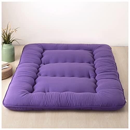 HFAFRZ Japanese Floor Futon Mattress, Tatami Floor Mat, Portable Camping Mattress, Sleeping Mat, Foldable Roll Up Floor Lounger, Couch Bed, Double Sleeping Mat,Lila,200x220cm