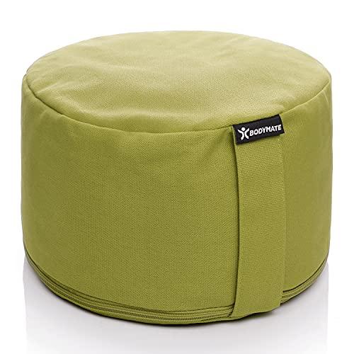 BODYMATE Extra-Hohes Yogakissen rund 31cm Durchmesser 20cm hoch Olive Green mit Buchweizen-Spelz Füllung – Maschinenwaschbarer Bezug aus 100% extra Dicker Baumwolle – Meditationskissen – Sitzkissen